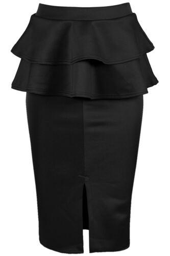 Ladies Bodycon Stretchy Peplum Frill Bodycon Knee Length Front Split Midi Skirt