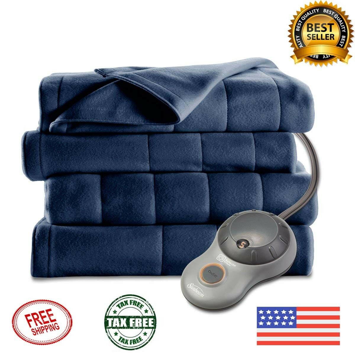 ELECTRIC HEATED BLANKET Full Size Quilted Fleece Warming Bedding With Auto Off