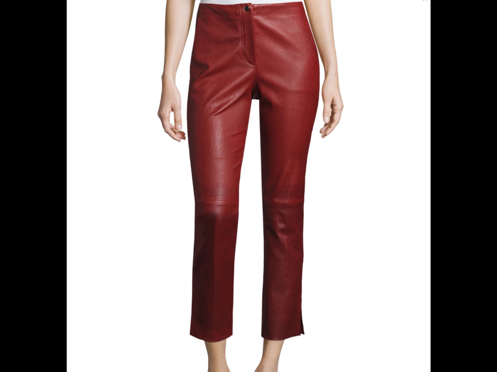 Helmut Lang Straight Cropped Leather Pants , Ruby Größe 8