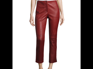 Helmut Lang Straight Cropped Leather Pants , Ruby Size 8