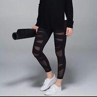 Lululemon High Times Crop Pants Tech Mesh 7/8 Length Black 2 4 Not Shiny