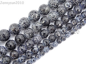 """Faceted Black Fire Cracle Agate Gemstone Round Beads 15.5/"""" 6mm 8mm 10mm 12mm"""