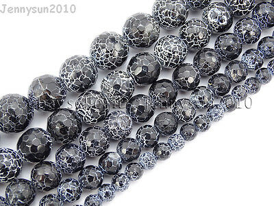 """Black Fire Crackle Agate Gemstones Faceted Round Beads 14.5"""" 6mm 8mm 10mm 12mm"""