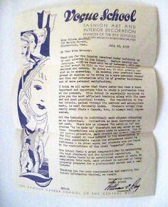 "Interesting 1939 Brochures on ""Vogue School Fashion Art & Interior Decorate"".*"