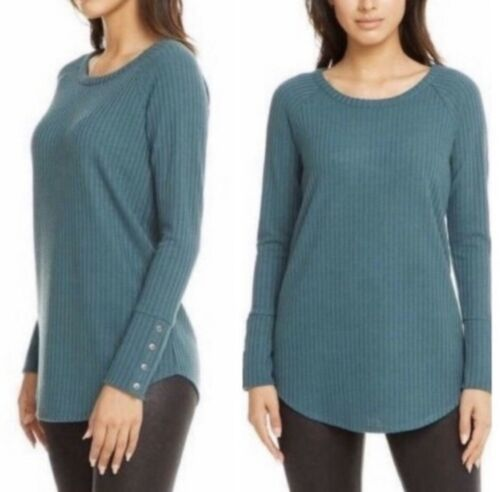 Chaser Teal Ribbed Long Sleeve Thermal Top