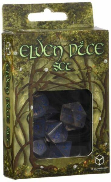 7 Piece Set Q-Workshop Elvish Dice Set Transparent//Blue