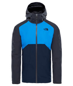 The-North-Face-Stratos-Jacket-Herren-Regenjacke-Asphalt-Grey-Bomber-Blue