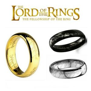 NEW-Hobbit-Lord-of-the-Rings-Gold-Silver-Black-Elvish-Rune-Engraving-Ring-Band