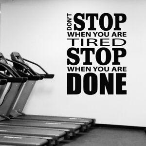 Detalles De No Deje De Gimnasio Fitness Vinilo Pared Adhesivo Calcomanía Motivacionales Inspiración Cita Ver Título Original