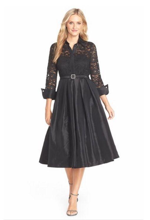 Eliza J Mixed Lace & Taffeta Fit & Flare Dress   (Größe 6P)