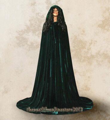 New Green Hooded Velvet Renaissance Cloak Wedding Medieval Cape Party Larp  S-XL