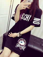 Women's Dress Mos T Shirts Top Short Sleeve Long Style With Pocket (Size L)