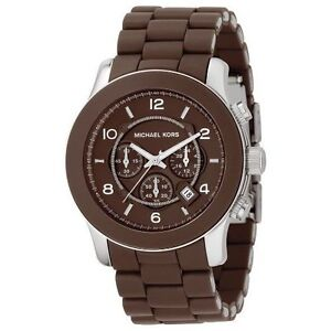 5e635a13790e Image is loading NEW-MICHAEL-KORS-RUNWAY-CHOCOLATE-BROWN-SILICONE-WRAPPED-