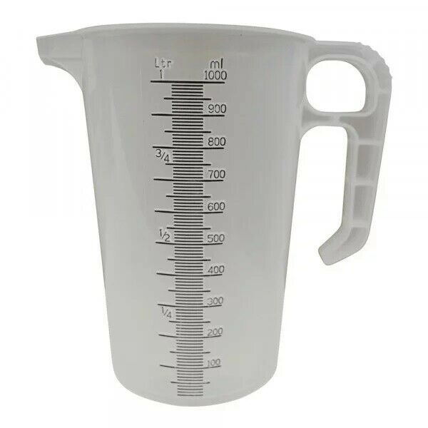 Chemical MEASURING JUG - 1 Litre - Non Drip Spout & Extra Thick Durable Plastic