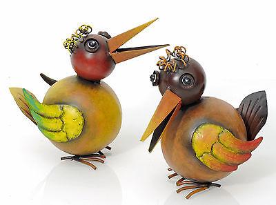 Vogel bunt, witzig, 2er-Set, Metall (923759) NEU Gartenfigur Dekovogel