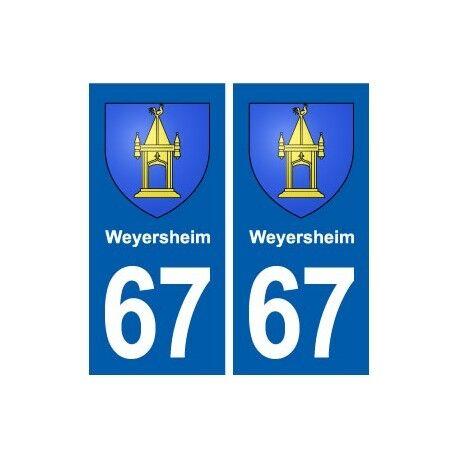 67 Weyersheim blason autocollant plaque stickers ville -  Angles : droits