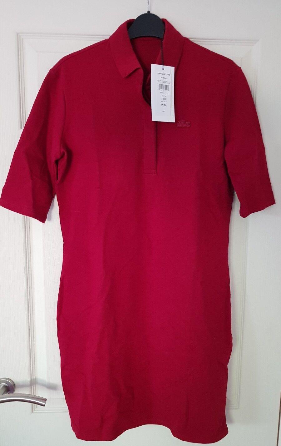 Lacoste Camiseta Vestido Color Burdeos totalmente nuevo con etiquetas