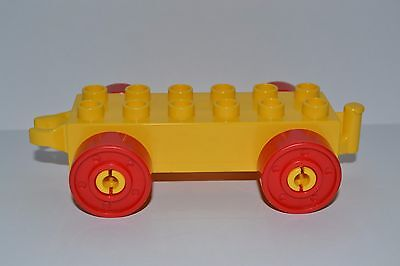 yellow car with red wheels Duplo train car base combined shipping