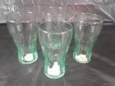 Set of 4 Coca Cola Glasses 12 Ounce Size Green Can Pattern Coke Soda Glasses