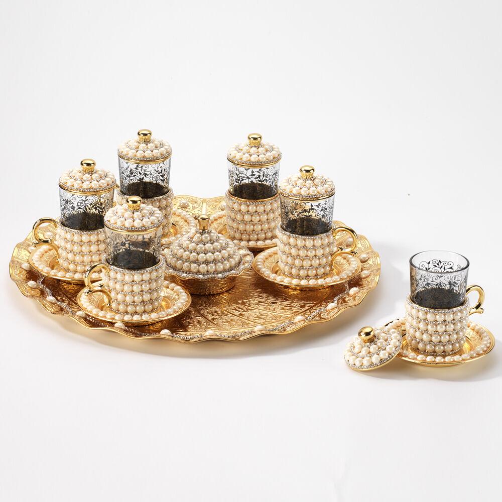 Handmade cuivre Café Thé Eau Zamzam Serving Set Swarovski Enduit Couleur Or