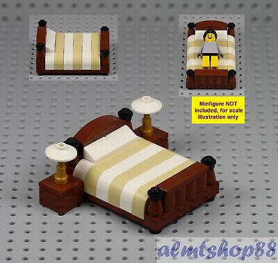 Lego Queen King Bed W Nightstands Minifigure Bedroom Home Furniture Town Ebay