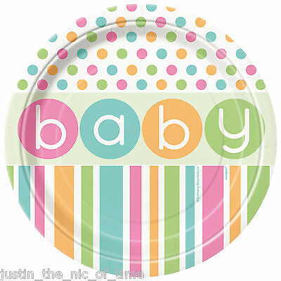 """Baby Shower UNISEX Party Tableware Supplies Girl or Boy Plate 9"""" Paper PLATES x8"""