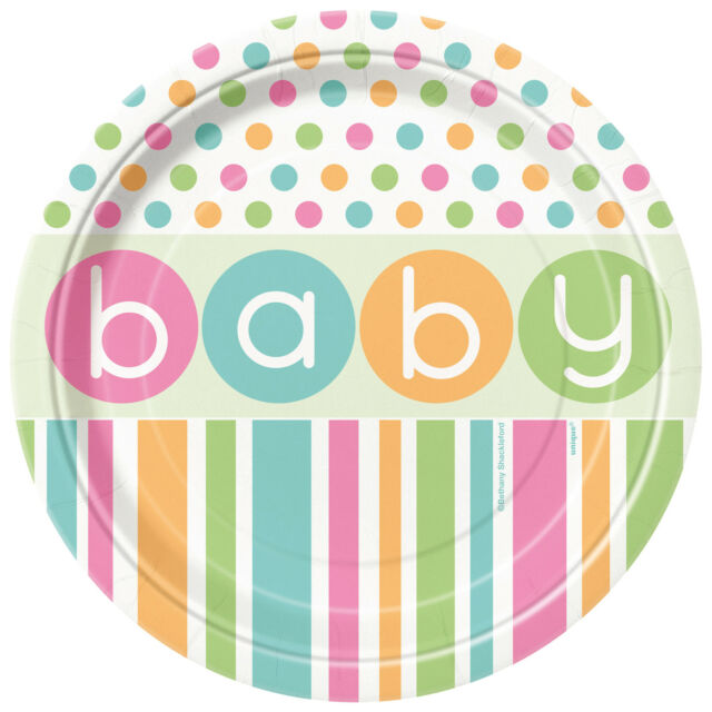 """Baby Shower UNISEX Party Tableware Supplies Girl or Boy Plate 7"""" Paper PLATES x8"""