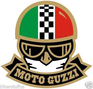 moto guzzi with helmet bumper sticker tool box sticker helmet sticker. Black Bedroom Furniture Sets. Home Design Ideas