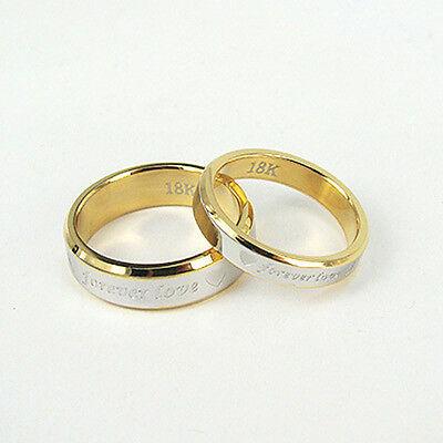 ZGR1 A Pair Rose Gold Silver Couple Ring Lovers Fashion Jewelry Hoop Promise