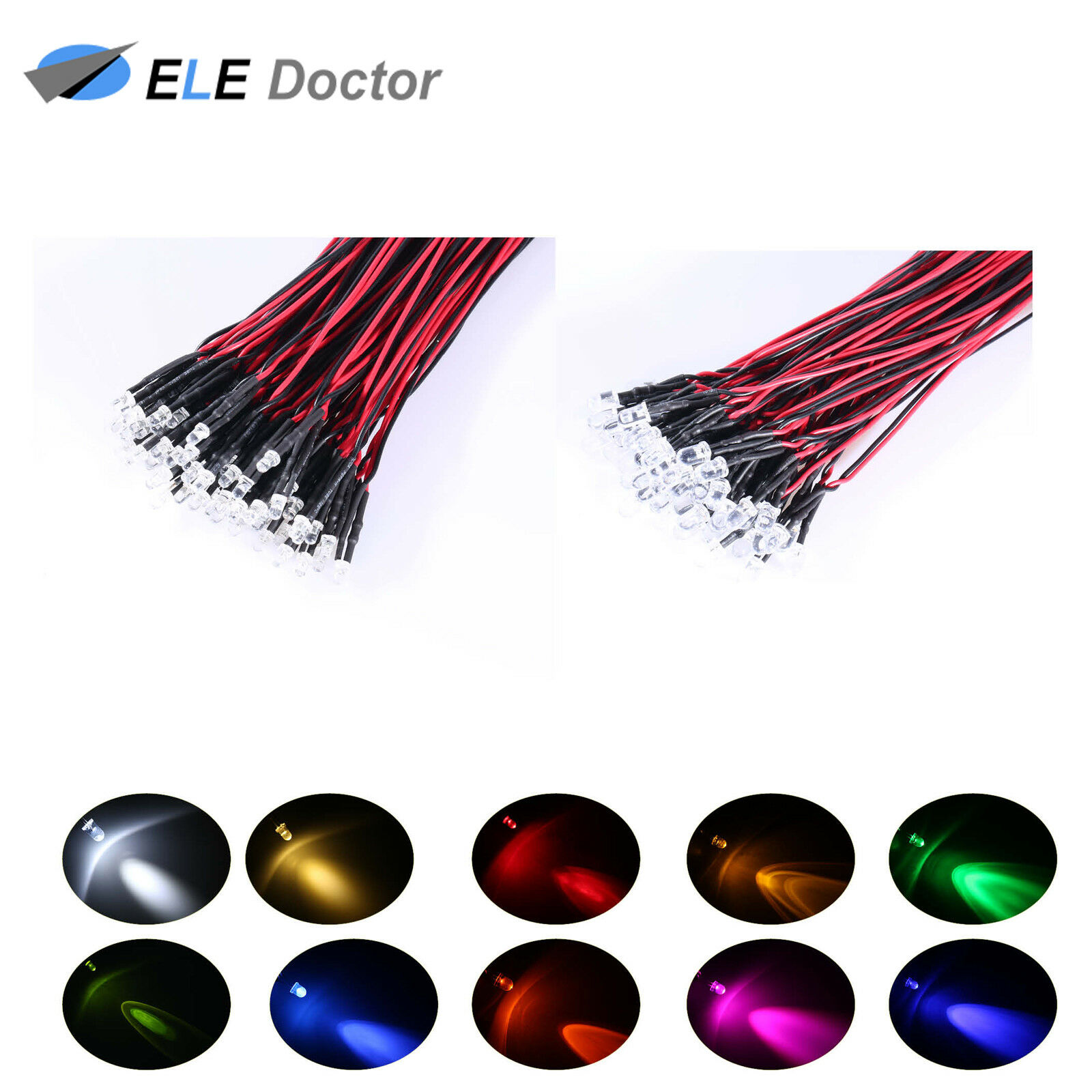 20x DC3-42V 5mm LED Red Bulb Pre wired Light Emitting Diodes Small 20cm Wire
