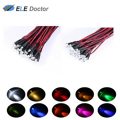 20Pcs 1.8mm Red Pre-Wired Round Top Water Clear Light DC 9-12v LED Diodes 20CM