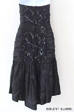 Vtg Black Satin Dress Lace Sequins Ruched Hi Lo Hem Prom Formal Gown Womens 9/10