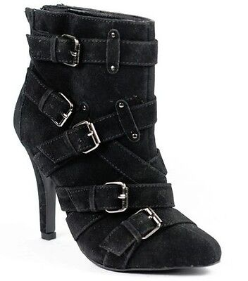 Black Faux Suede Buckle High Heel Pointy Toe Ankle Bootie  Boot Qupid Politic-92
