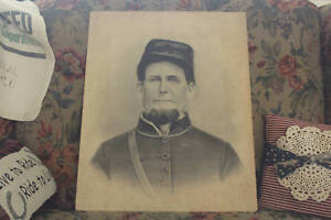 Antique-Portrait-of-Civil-War-Soldier-Civil-War-Charcoal-Portrait-Picture
