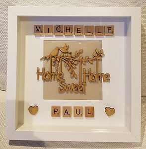 Personalised Home Sweet Home Picture Box Frame Gift Scrabble Letters