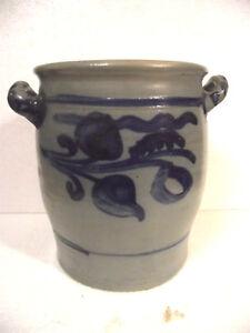 Gefäße Original Alter Schmalztopf Salzlasur Krauttopf Grau Blau Keramik 6 Liter