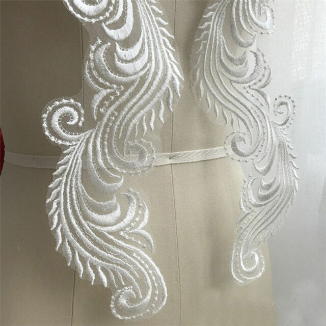 1 Pair Vintage Polyester  Lace Trim Applique Wedding Bridal Dress Sewing DIY24