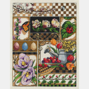 Janlynn-Counted-Cross-Stitch-Kit-Spring-Montage-11-034-X-14-034-NEW-14-Count