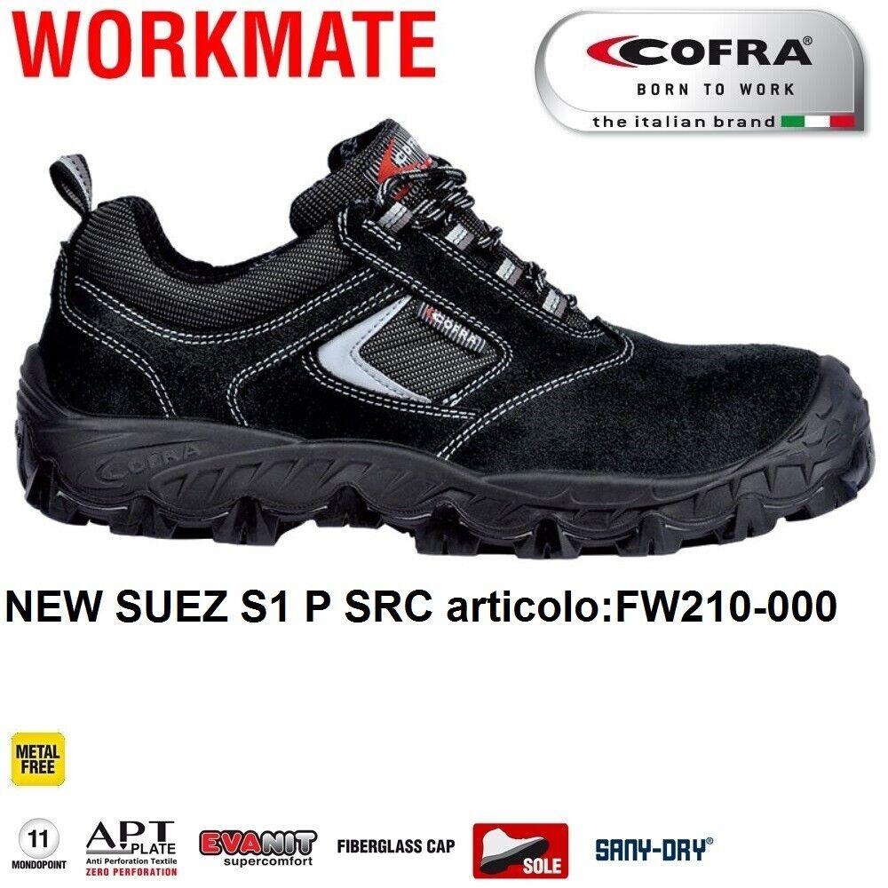 Scarpe Antinfortunistiche COFRA linea WORK MATE modello NEW SUEZ S1 P SRC pelle scamosciata e tessuto traspirante , Metal Free FW210 000 CALZATURE