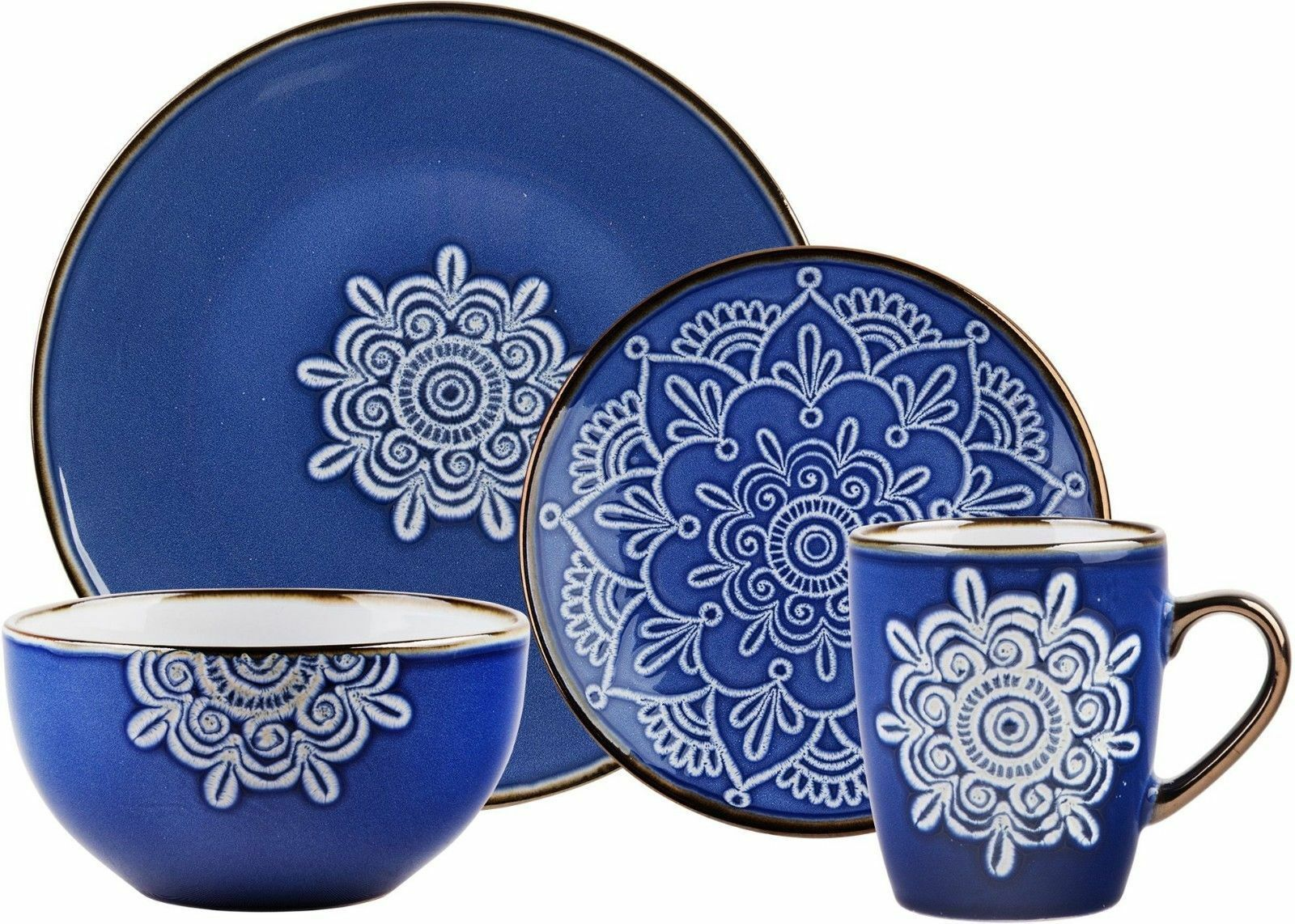 16 Pièce Bleu Médaillon Dinnerware Set par Home Essentials