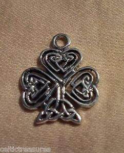 .925 Sterling Silver Irish Shamrock Charm Pendant with Celtic knots