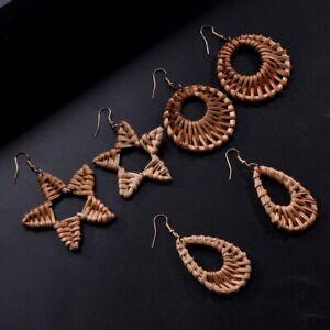 Damen-Tropfen-Anhaenger-Rattan-Handgefertigte-Pentagramm-Wassertropfen-Ohrringe