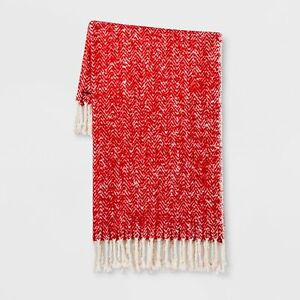 Details About Threshold Herringbone Faux Mohair Throw Blanket Red 50 X 60