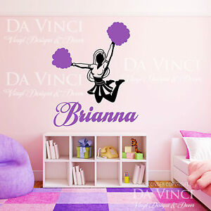 Personalized girl name cheerleader cheer sports vinyl wall for Cheerleader wall mural