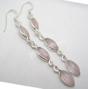 925-Solid-Silver-PINK-ROSE-QUARTZ-3-Gemstone-WOMEN-039-S-LONG-Dangle-Earrings-2-6-034