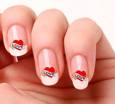 20 Nail Art Decals Transfers Stickers #712 - Love Heart Valentines day