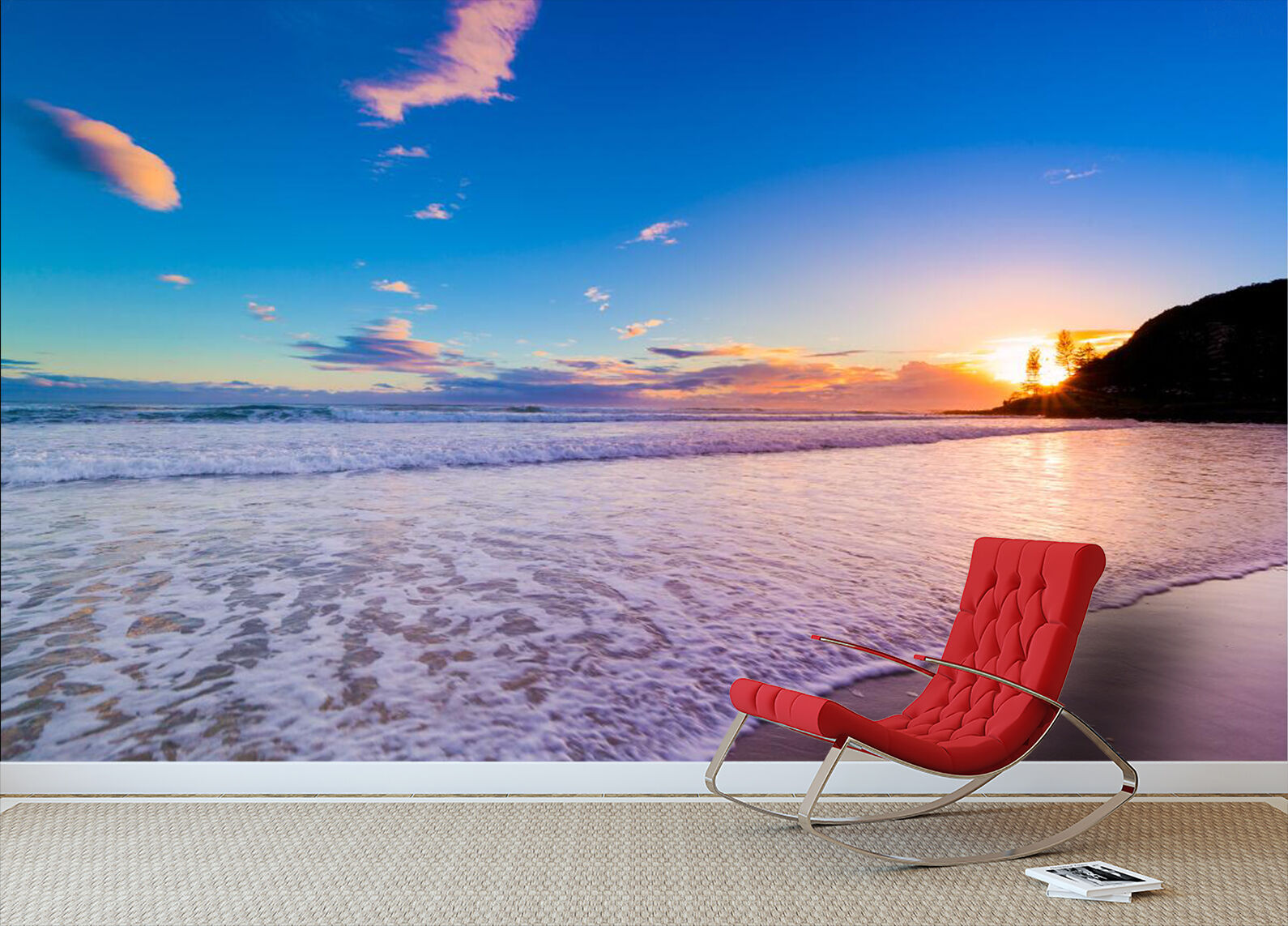 3D Beach Sunset Scenery 01 Paper Wall Print Wall Decal Wall Deco Indoor Murals