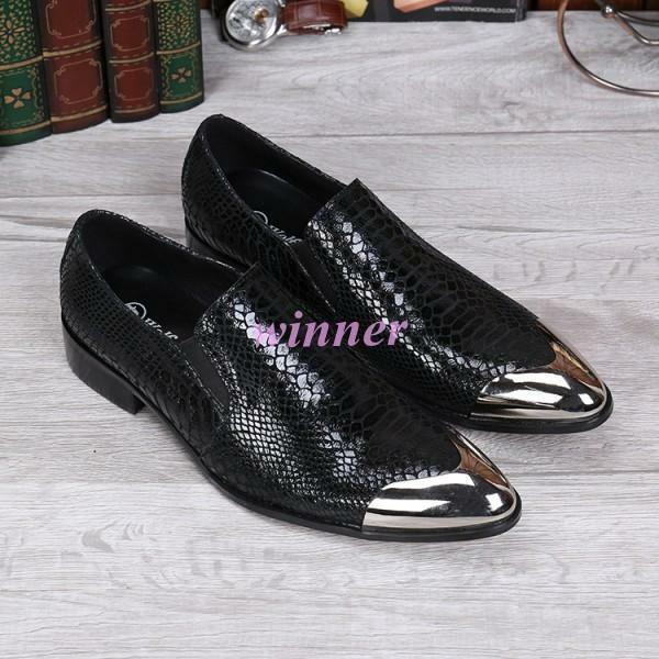 Mens Cowhide Leather Oxfords Black Metal Pointy Toe Dress shoes Vogue US6-11.5 w