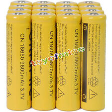 16pcs 18650 3.7V 9800mAh Yellow Li-ion Rechargeable Battery Cell For Torch