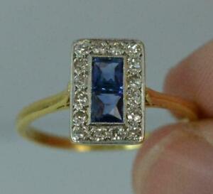 Art-Deco-2-50Ct-Princess-Blue-Sapphire-amp-Diamond-Women-Ring-14K-Yellow-Gold-Over